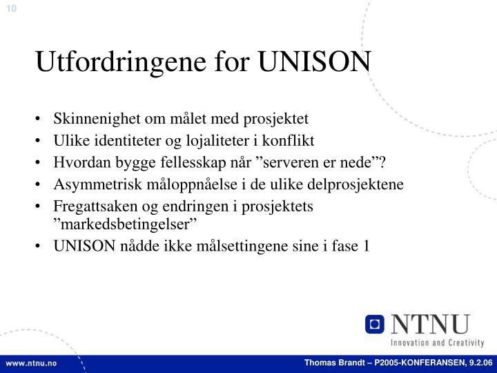 Utfordringene for UNISON