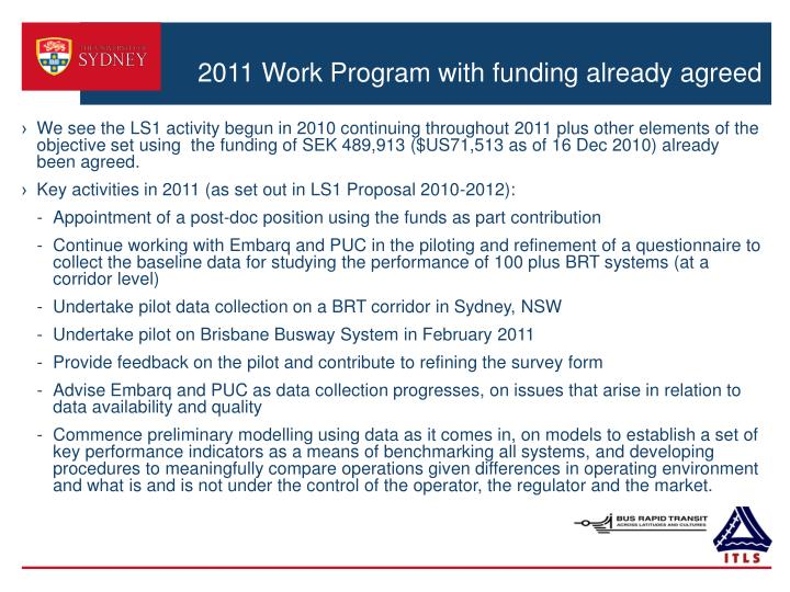 2011 Work Program with funding already agreed