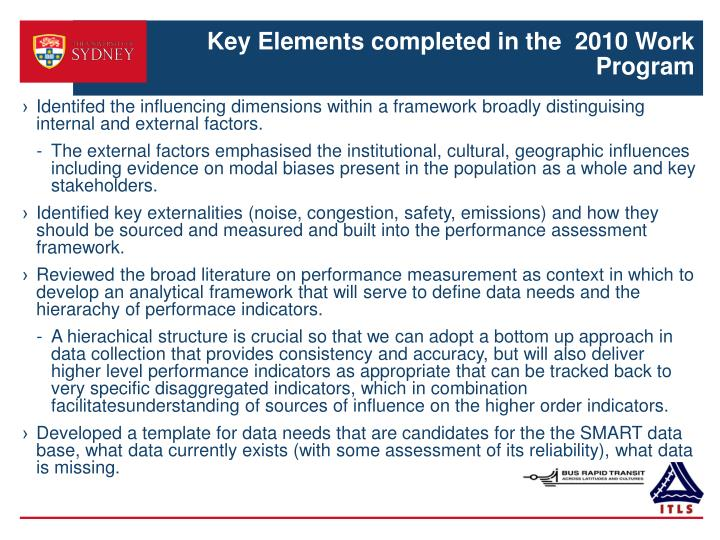 Key elements completed in the 2010 work program