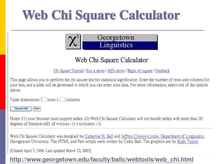 Web Chi Square Calculator
