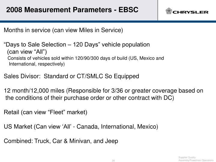2008 Measurement Parameters - EBSC