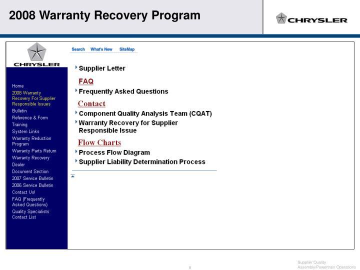 2008 Warranty Recovery Program