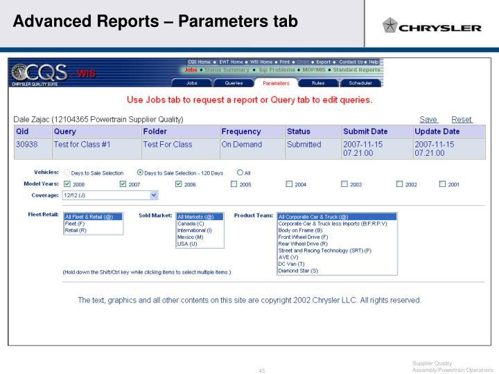 Advanced Reports – Parameters tab