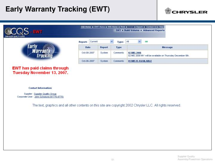 Early Warranty Tracking (EWT)