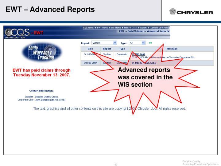 EWT – Advanced Reports