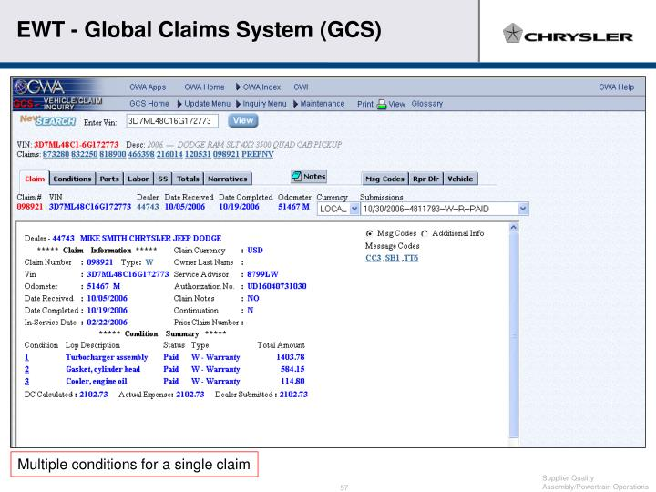 EWT - Global Claims System (GCS)