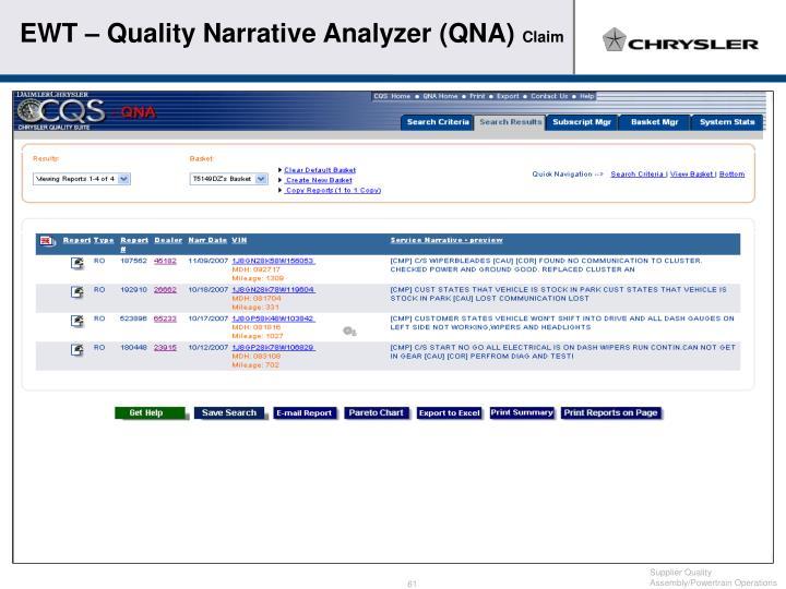 EWT – Quality Narrative Analyzer (QNA)