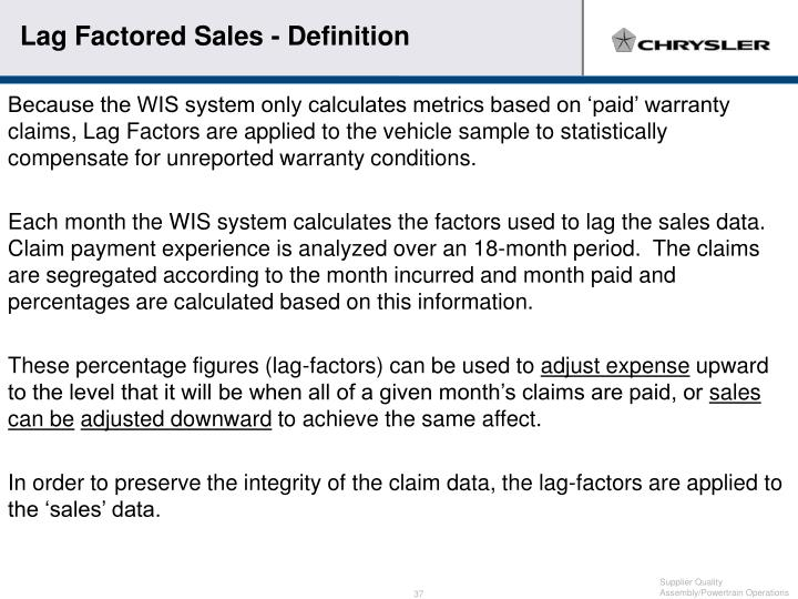 Lag Factored Sales - Definition