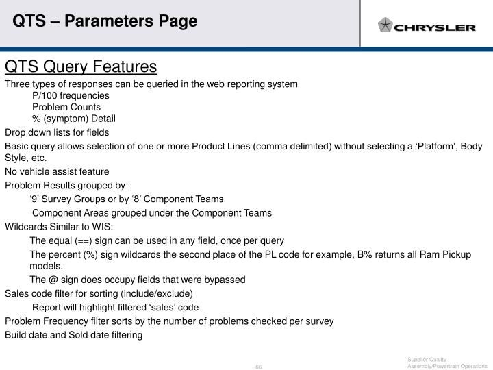 QTS – Parameters Page