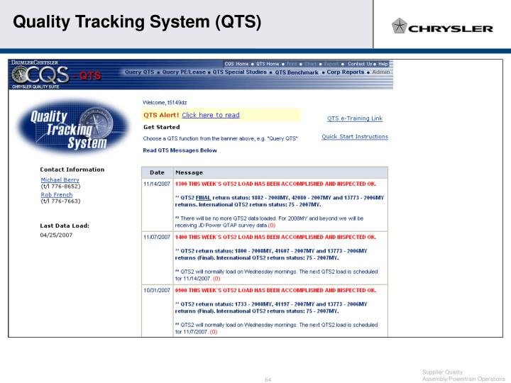 Quality Tracking System (QTS)