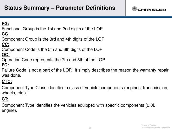 Status Summary – Parameter Definitions