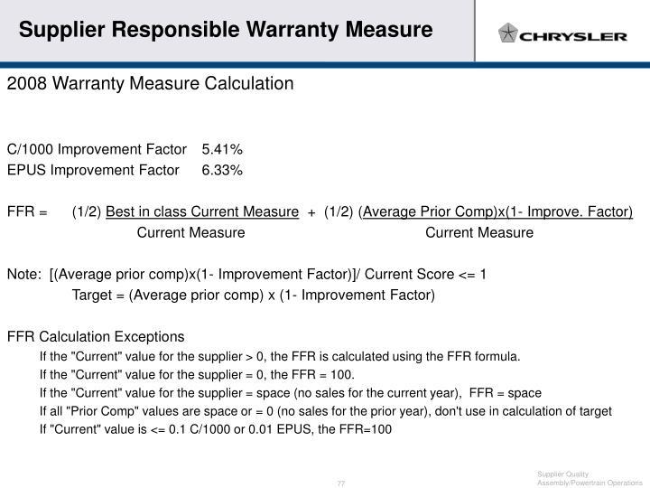 Supplier Responsible Warranty Measure