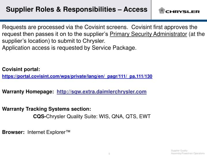 Supplier Roles & Responsibilities – Access