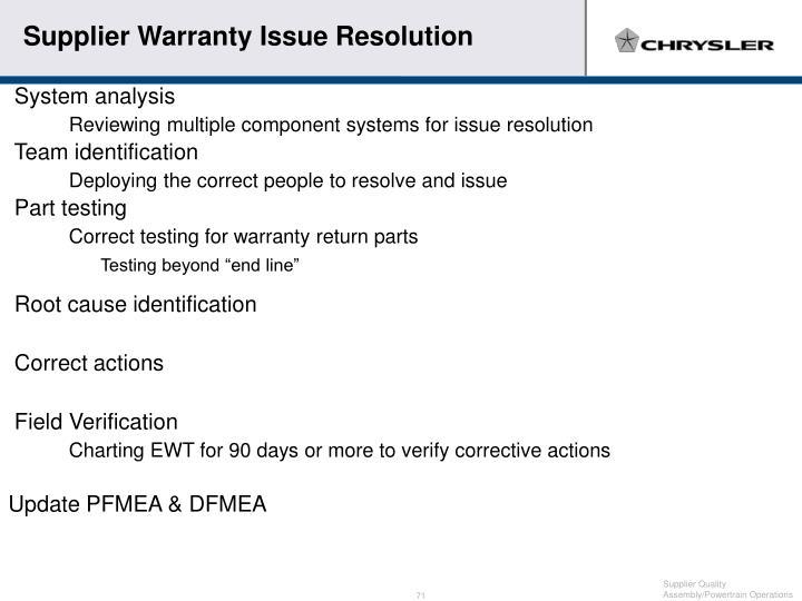 Supplier Warranty Issue Resolution