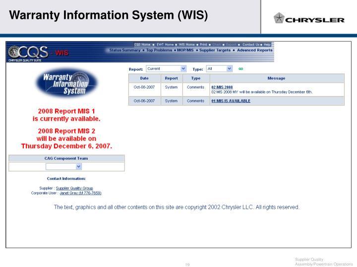 Warranty Information System (WIS)
