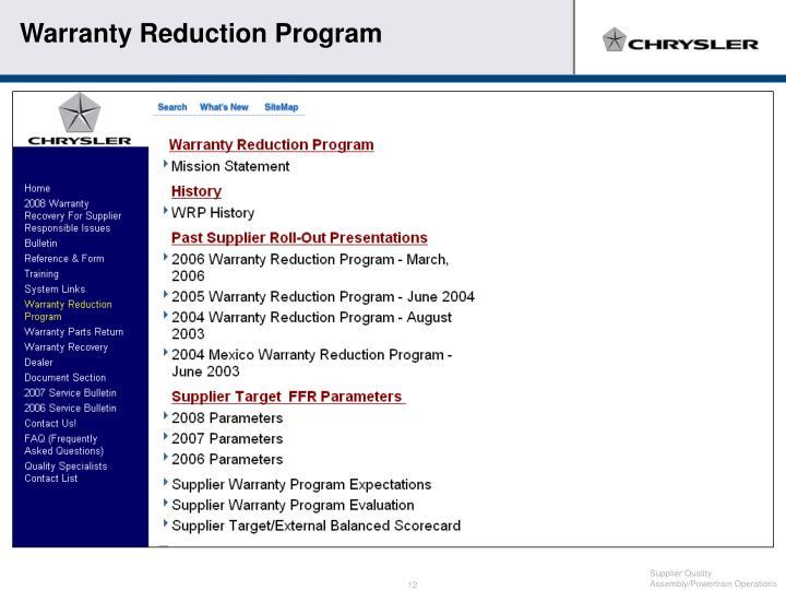 Warranty Reduction Program