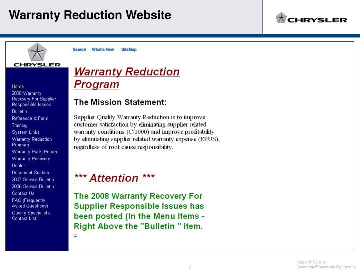 Warranty Reduction Website