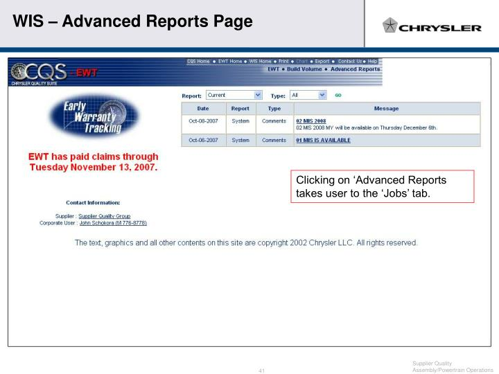 WIS – Advanced Reports Page