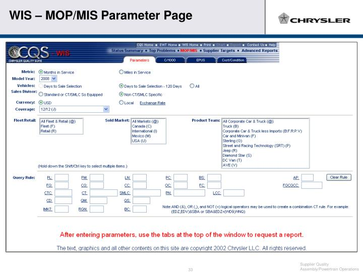 WIS – MOP/MIS Parameter Page