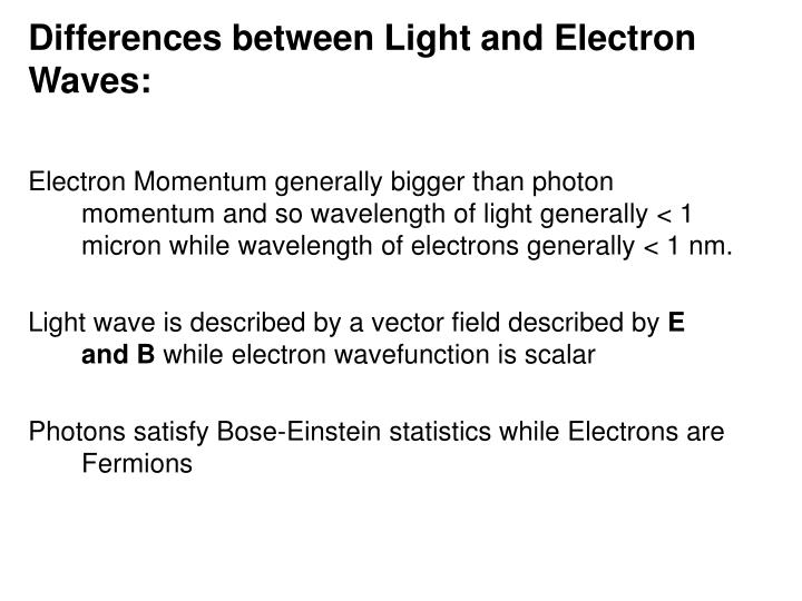 Differences between Light and Electron Waves: