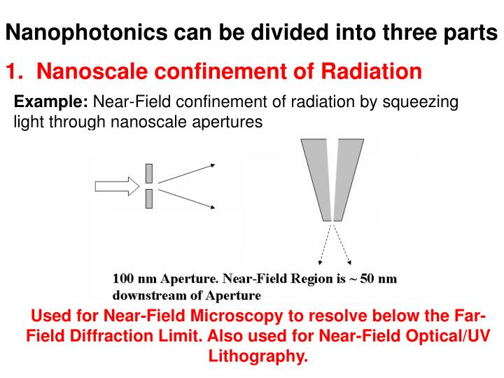 Nanophotonics can be divided into three parts
