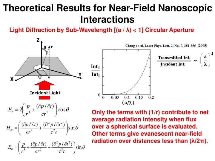Theoretical Results for Near-Field Nanoscopic Interactions