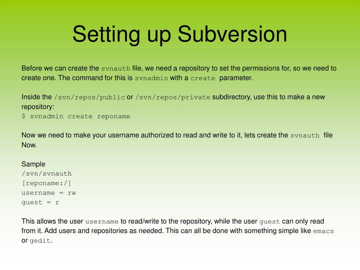 Setting up Subversion