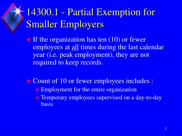 14300.1 - Partial Exemption for Smaller Employers