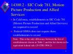 14300 2 sic code 781 motion picture production and allied services