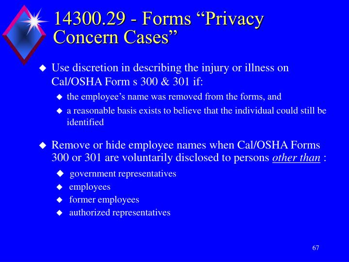 "14300.29 - Forms ""Privacy Concern Cases"""