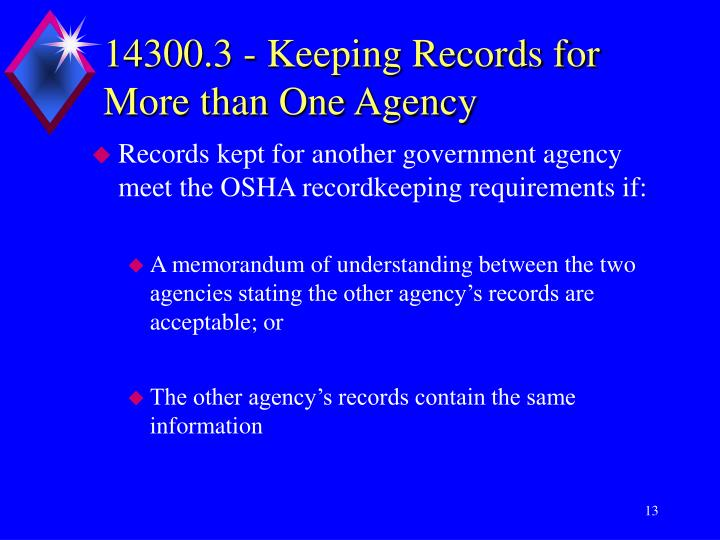 14300.3 - Keeping Records for