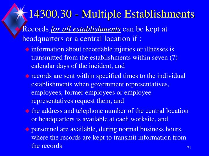 14300.30 - Multiple Establishments