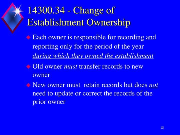 14300.34 - Change of Establishment Ownership