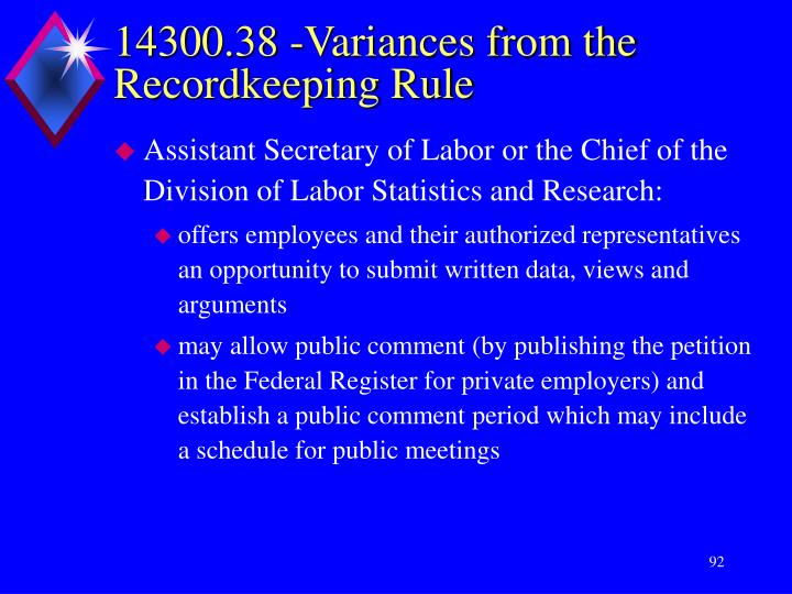 14300.38 -Variances from the Recordkeeping Rule