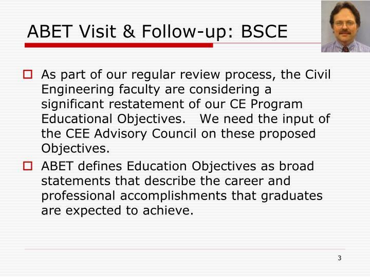 ABET Visit & Follow-up: BSCE