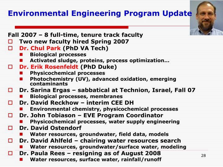 Environmental Engineering Program Update