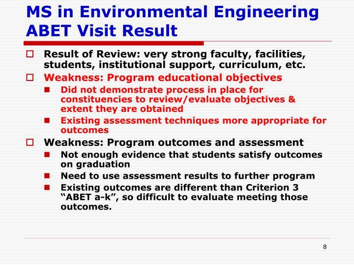 MS in Environmental Engineering