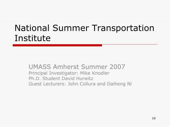 National Summer Transportation Institute