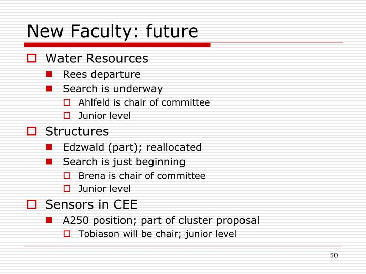 New Faculty: future