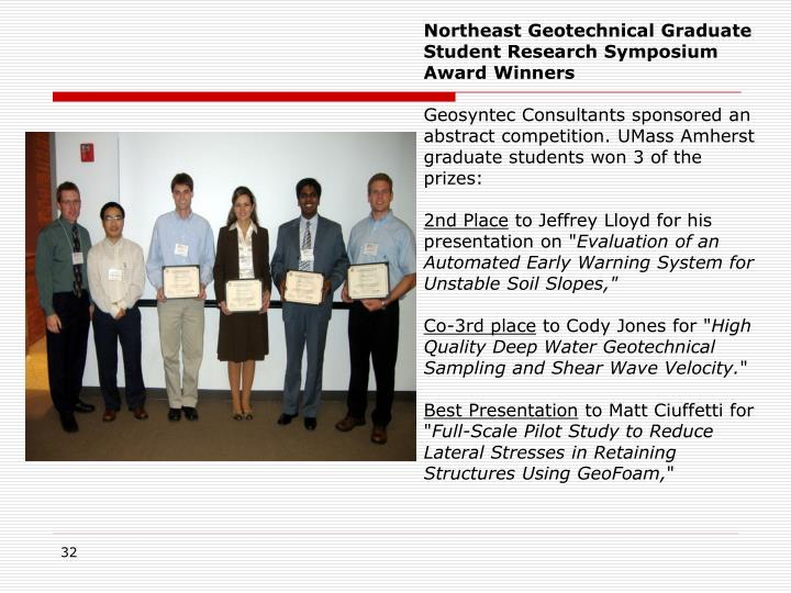 Northeast Geotechnical Graduate Student Research Symposium