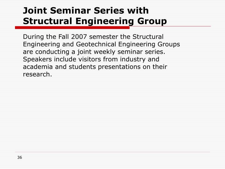 Joint Seminar Series with Structural Engineering Group