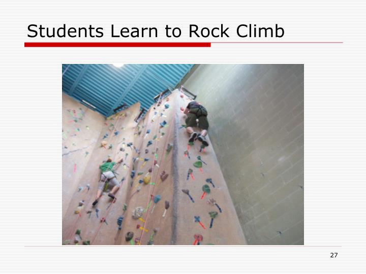 Students Learn to Rock Climb