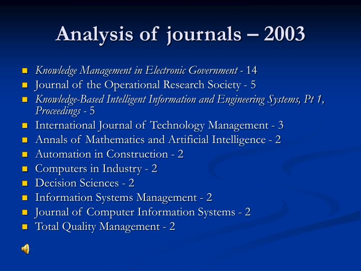 Analysis of journals – 2003