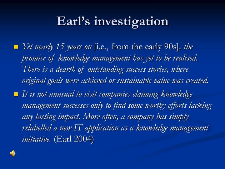 Earl's investigation