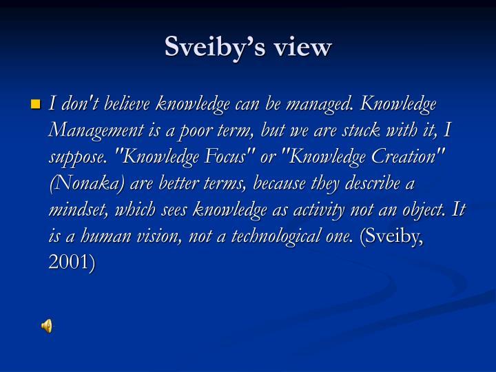 Sveiby's view