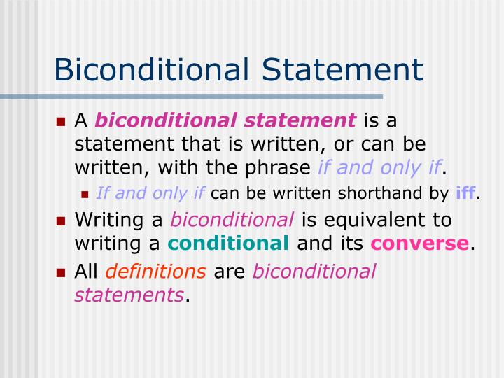 Biconditional Statement