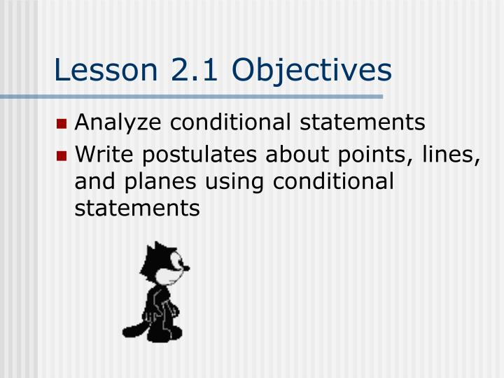 Lesson 2.1 Objectives