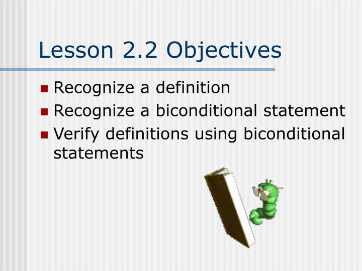 Lesson 2.2 Objectives