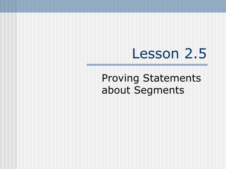 Lesson 2.5