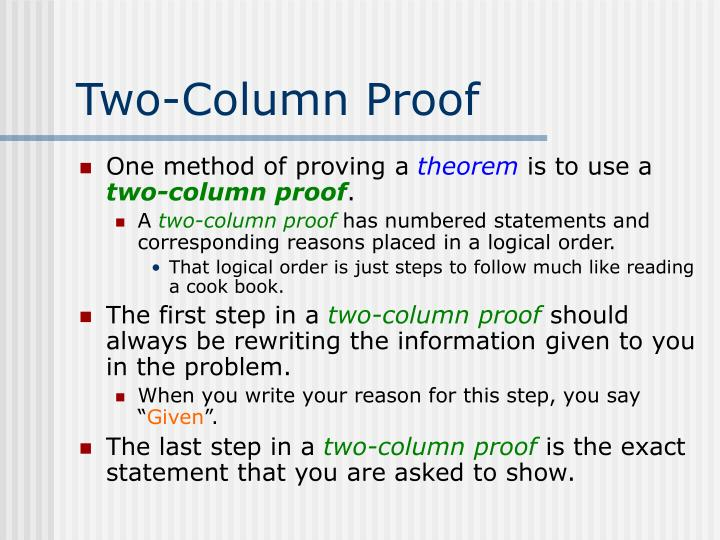 Two-Column Proof